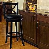 Lavish Home Swivel Wood Stool with Back, Black