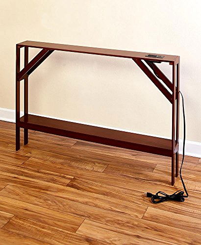The Lakeside Collection Skinny Sofa Table with Outlet - Walnut