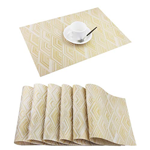 (Pigchcy Placemats,Washable Vinyl Woven Table Mats,Elegant Placemats for Dining Table Set of 6(Rhombus Pattern,Gold) )