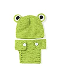 DierCosy Newborn Baby Photography Props Costume Cute Green Frog Photo Props Outfits Crochet Knitted Costume with Hat BabyProducts