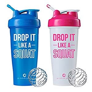 Drop It Like A Squat on BlenderBottle brand Classic shaker cup, 28oz Capacity, Includes BlenderBall whisk, Includes Tank Top (Cyan and White/Pink Combo - 28oz)