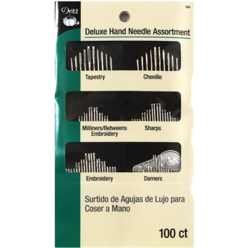Dritz 128 Deluxe Hand Needles with Needle Threader, Assorted Styles & Sizes (100-Count)