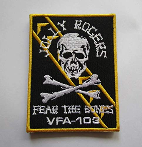Fear The Bones VFA-103 Jolly Rogers Military Patch Fabric Embroidered Badges Patch Tactical Stickers for Clothes with Hook & Loop