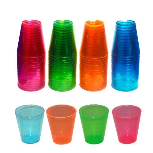 Party Essentials N26090 Brights Plastic Shot Glass, 2-Ounce Capacity, Assorted Neon Pink/Green/Blue/Orange (Case of 600)