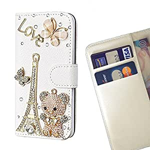 Paris Bear Love Butterfly - Crystal Diamond Waller Leather Case Cover 3D Bling FOR HUAWEI5X/KIW-TL00 @ THE