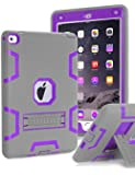 iPad Pro 9.7 inch Case, iPad Pro 9.7 Heavy Duty Case,TOPSKY [Kickstand Feature],Shock-Absorption / High Impact Resistant Armor Defender Case For iPad Pro 9.7 inch 2016 Release,with Stylus, Grey/Purple