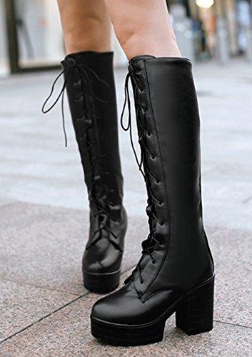Idifu Donna Piattaforma Trendy Alti Tacchi Chunky Lace Up Stivali Alti Stivali Da Combattimento Lunghi Neri