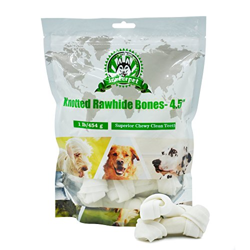 Joueurpet Knotted Rawhide Dental Bones Chew Treats for Dog Puppy