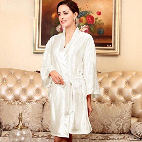 Wanyne -dressing Robes Avec Des Robes De Chambre À Manches Longues Femmes Robe De Sangle Pyjama Nightgown Peignoir Cardigan (couleur: Champagne) Blanc