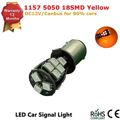 Light Dual Filament Replacement Bulb (1Pcs LED Car Lights Bulb 1157 S25 BAY15d 18 SMD 5050 LED Backup Signal Blinker Tail Light BULBS 12V Replacement for Cars P21/5W-Yellow Amber)
