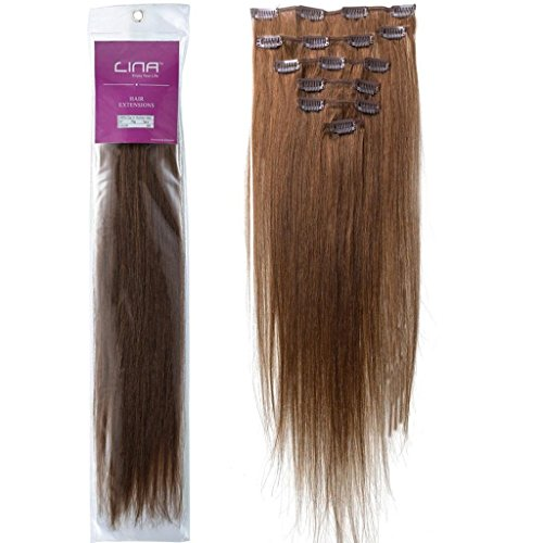 Emosa Human Hair Extensions 100% Real Clip In Remy Hair (22inch 70g, 6 brown)