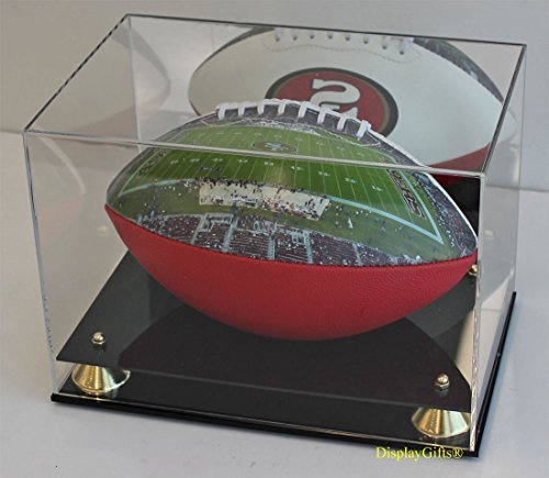 DisplayGifts UV Protection Football Display Case Holder Stand, (with Mirrored - Elegant Signed