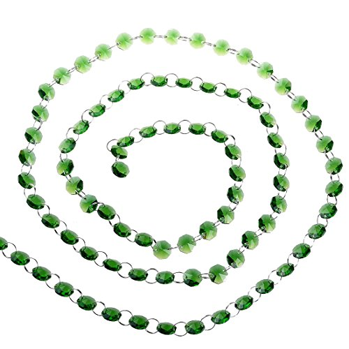 Green Crystal Chain - H&D 6FT Glass Crystal 14mm Octagon Beads Chain Chandelier Prisms Hanging Wedding Garland (Green)