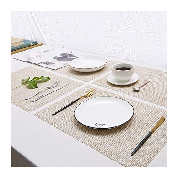 DOLOPL Placemat Placemats Waterproof Beige Placemats Set of 6 Crossweave Woven Vinyl Laminated Table Mat Easy to Clean Heat Resistant Wipeable Spring Placemats for Dining Table - ►Enviromental Meterial:The placemat is FDA approved eco-friendly kitchen accessories,these table placemats are made of high quality PVC and jelly, it's durable and waterproof better, non-fading. [Due to the influence of the waterproof film for the table mats, it's normal for the beige placemats to have an odor. Please place it for one day(it's better) after receiving the wipeable placemats.] ►100%Waterproof and Easy to Clean:the placemats' back of jelly, the kitchen table placemats are waterproof, also these stain proof placemats are easy to clean, just using the wet cloth or towel to wipe off when the table mats have some liquids, or go head to wash the Christmas placemats with soft brush after you finished a BBQ or meal time. ►Heat Resistant Placemats:these set of 6 placemats are heat insulation, resistant to combustion, acid-base, wear-resistant and has good warmth and elasticity. Please make sure your plates are ≤212℉(100℃),it's awsome to protect your wood, glass or other material table. - placemats, kitchen-dining-room-table-linens, kitchen-dining-room - 51d8t1QObLL. SS570  -