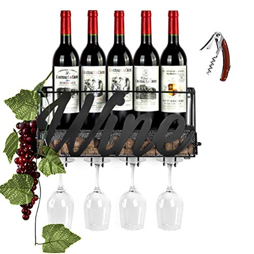CSmile Iron Wine Rack Wall Mounted Black Wine Glass Rack Wine Cork Holder Gifts Come with Wine - Dining Rosewood Cabinet Room