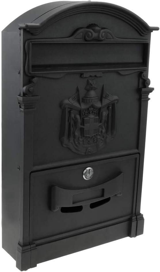 PrimeMatik - Buzón Antiguo metálico para Cartas y Correo Postal de Color Negro