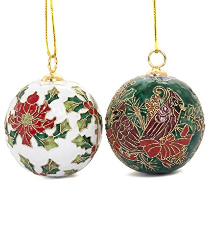 Value Arts - 2 Pieces Set Handmade Cloisonne Poinsettia and Cardinal Ball Ornaments