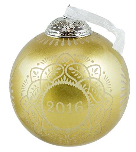 Hallmark Keepsake Ornament Christmas Commemorative Gold Glass Ball 2016