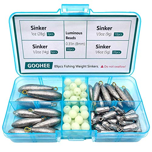 GOOHEE Lead Sinker 89pcs Lead Raindrop Fishing Weights Sinkers Without Burrs, Line Holes are Clear, Worm Weights in Saltwater Fishing Tackle with Beads