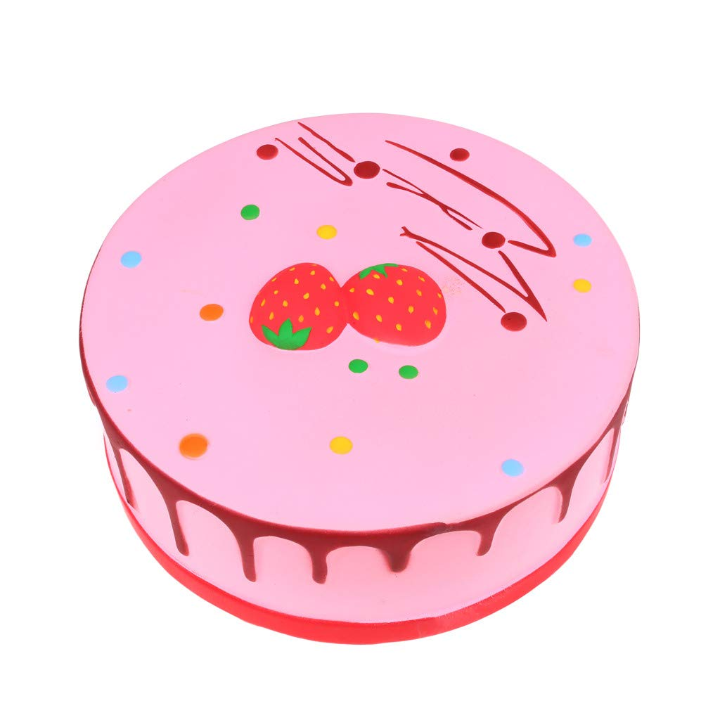 FIN86 Chirstmas Home Decor, Fun Slow Rising Toy, Giant Strawberry Cake Squishy Cream Scented Bread Decompression Squeeze Toys for Collection Gift, Decorative Props Large Stress Relief (Pink) by FIN86