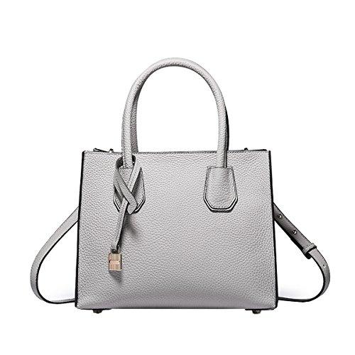 E-Girl Q0871A Damen Grau Leder Handtaschen Satchel Tote Taschen Schultertaschen,26X13X21CM(LxBxH)