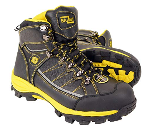 BAZALT-MBM9123ST-Bazalt-Mens Black & Yellow Water & Frost Proof Leather Boots W/Composite Toe - Black-Yellow / 9-9