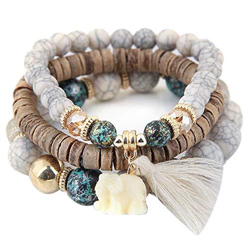 XINGPE 3 Wrap Bracelets Boho Multicolor Stretch Beaded Stackable Bracelets Wood Elephant Charm Bangle for Women