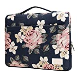 Kancystore White Rose Patten 12.9-13.3 Inch Canvas Laptop Sleeve with Handle for 11 Inch 12 Inch 13 Inch Laptop and Macbook Air Pro 11 /12/ 13