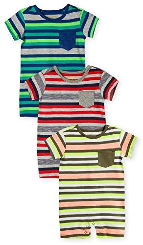 OFFCORSS Newborn Baby Boy Cotton Romper Organic Stripes Summer Clothing colorful Outfit Pajamas 1 Year Ropa de Vestir Bebe Nio Varon 3PACK 12 M