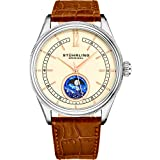 Stuhrling Original Mens MoonPhase Dress Watch - Stainless Steel Case and Brown Leather Band - Beige Analog Dial - Celestia Mens Watches Collection