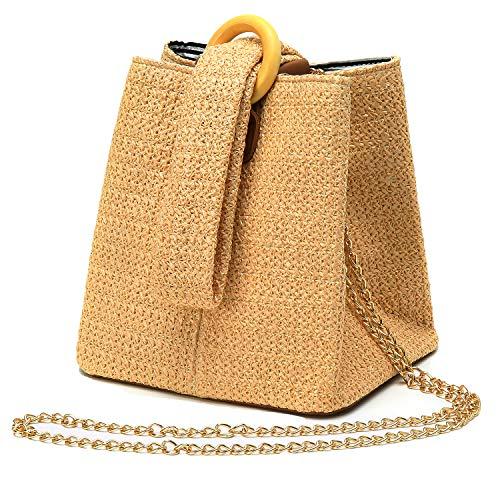 - Straw Crochet Clutch Bag Fashion Clutch Bags Bucket Wrist Evening Purse Bag Summer Khaki