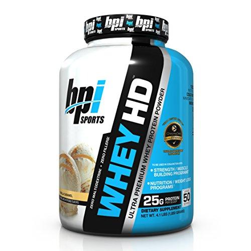 BPI Sports Whey HD Ultra Premium Protein Powder, Vanilla Caramel, 4.1 Pound (6 Powder Release Protein Sustained)