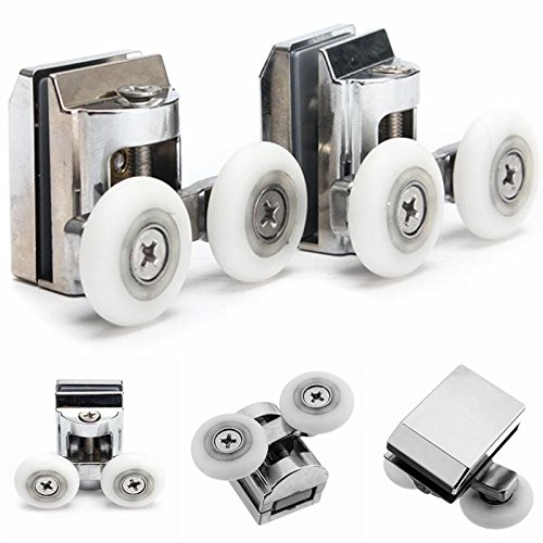 23mm Twin Top Zinc Alloy Shower Door Rollers/Runners/Wheels Wheel Bottom 52 x 30 x 35 mm by Isguin