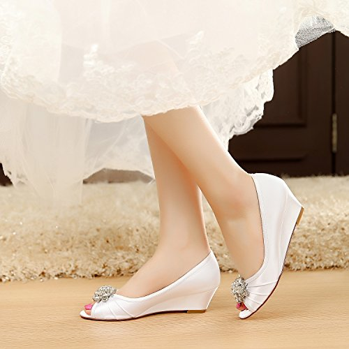 2bfa25f83bf LUXVEER Ivory Wedding Wedges with Pearl Rhinestones