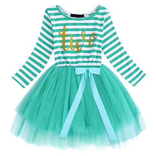 Newborn Baby Girls Toddler Kids Princess Long Sleeve Striped Dress 2nd Birthday Cake Smash Tulle Tutu Dress Party Outfit Turquoise