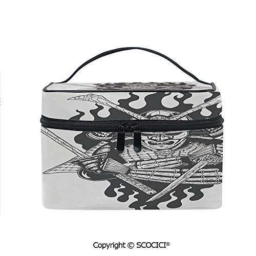 (Makeup Case Double Zipper Travel Cosmetic Bags Fearsome Ninja in Fire Oriental Mythology Spiritual Eastern Fighter Print for Women Girls)