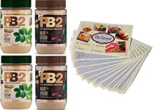 Powdered Peanut Butter - 85% Less Fat and Calories - 4 Pack - 2 PB2 Jars and 2 PB2 Cocoa Jars - 6.5oz Each - Free Bonus PB2 Recipe Cards Included (17 Cards in Total)