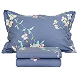 FADFAY 100% Cotton Shabby Floral Vintage Navy Blue Bed Sheet Set 4 Piece - Twin XL Size