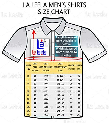 LA LEELA Men's Funky Hawaiian Shirt Men Shortsleeve Frontpocket XL Blue_W140