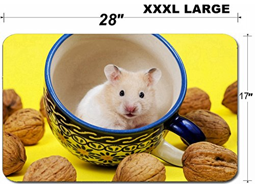 Liili Large Table Mat Non-Slip Natural Rubber Desk Pads Hamster in a colorful cup for tea IMAGE ID 19856130