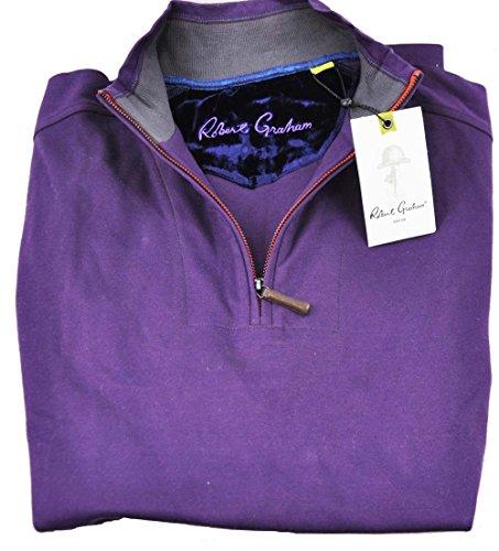 robert-graham-mens-medium-boathouse-purple-long-sleeve-1-4-zip-pullover-sweater