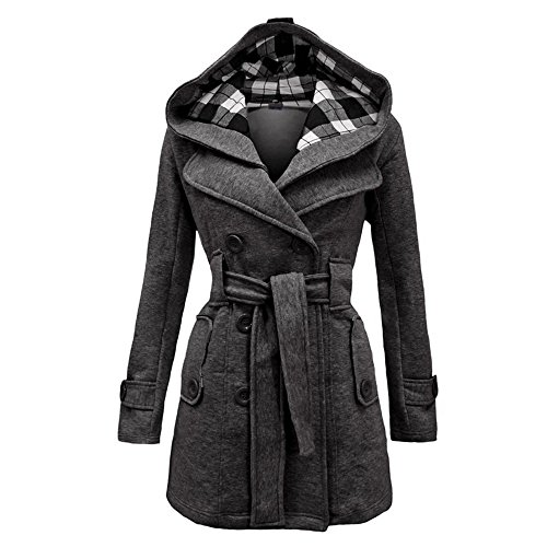 Women's Winter Button Hooded Fleece Belted Check Hood Jacket Pea Coat Grey