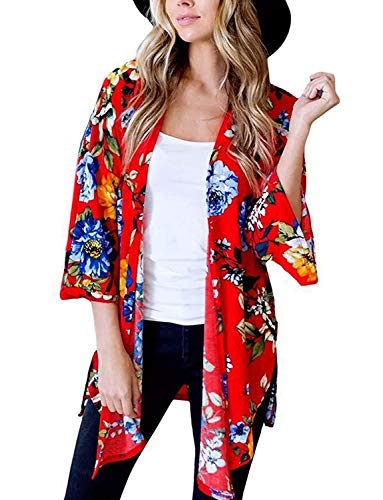 Women's Open Cover Up for Swimwear Fall Kimono Jacket Lightweight Long (Red, -