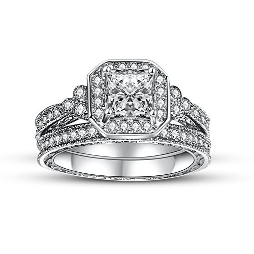 Jane Stone 925 Sterling Silver Ring Set CZ Ring Cubic Zirconia Rings Halo Wedding Ring Sets Paving Crystal Engagement Jewelry Eternity for Brides Women Size 9