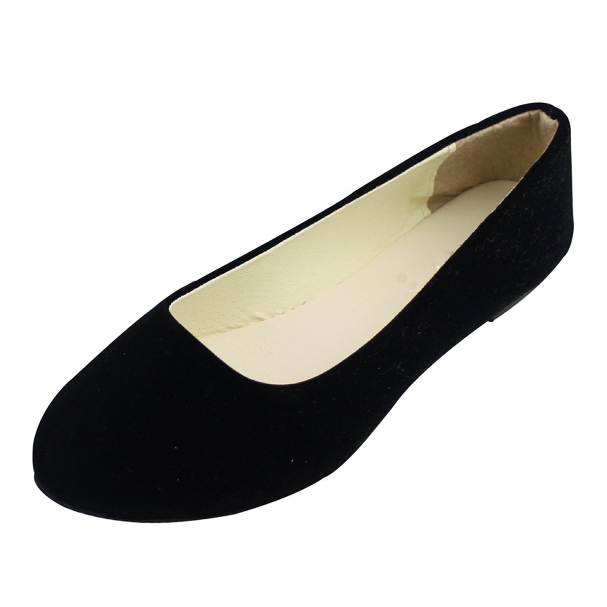 Stunner Women Cute Slip-On Ballet Shoes Soft Solid Classic Pointed Toe Flats by Black 43