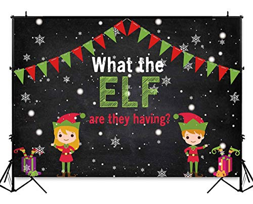 (Funnytree 7x5ft Elf Gender Reveal Party Photo Backdrop Boy or Girl Baby Shower Winter Photography Background Christmas Snow Newborn Photobooth Banner Cake Table Decorations)