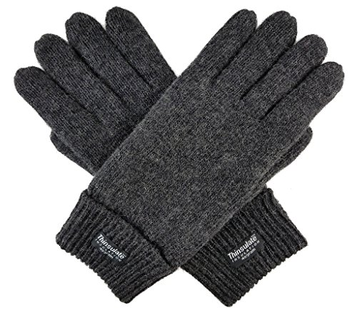 Bruceriver Men's Pure Wool Knitted Gloves with Thinsulate Lining Size S/M (Anthra) ()