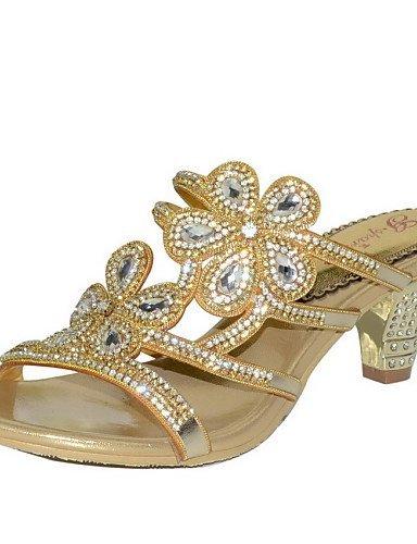 Party Sandalen Heels Lila Abend Heel Damenschuhe Casual Kleid Lila Leder Gold Chunky ShangYi xn7OYqX1Y