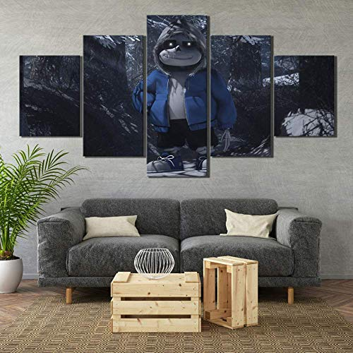 HY.bohu Canvas Painting Canvas Painting Wall Art Print Poster 5 Set Sans Undertale Video Game Modular Picture for Living Room Home Decoration Frameworks