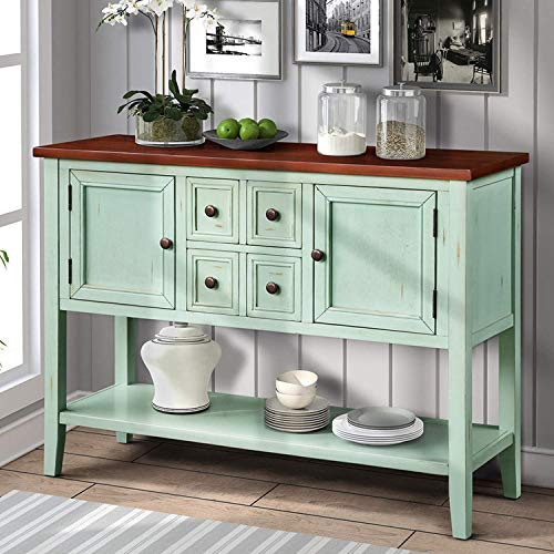 Hooseng Console Buffet Sideboard Sofa Table with 4 Storage Drawers Two Cabinets and Bottom Shelf4, Blue